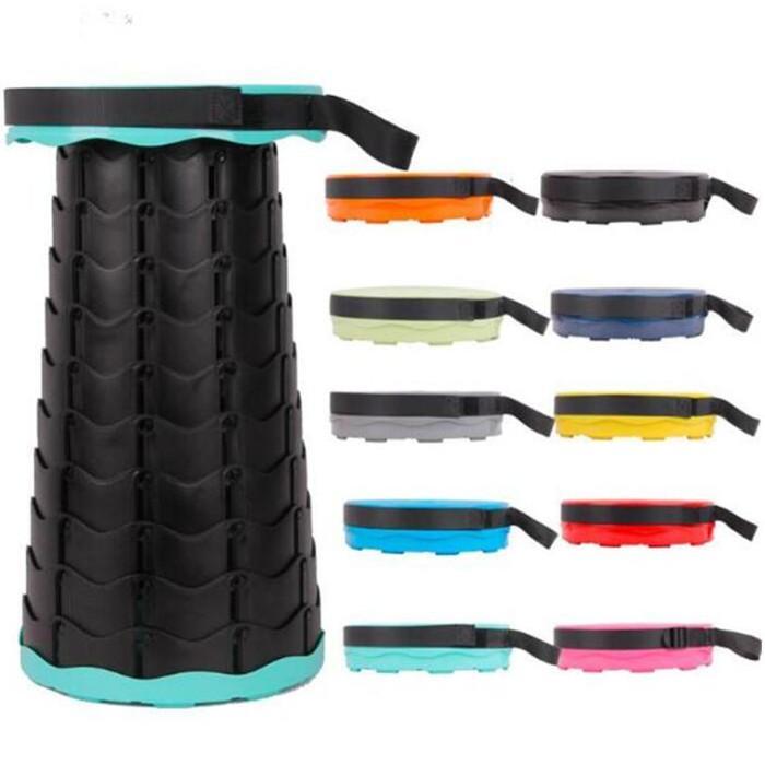 Siège de tabouret pliant portable 19 couleurs rétractable en plastique en plein air barbecue camping chaise de pêche 3ème génération Autres meubles WY1015