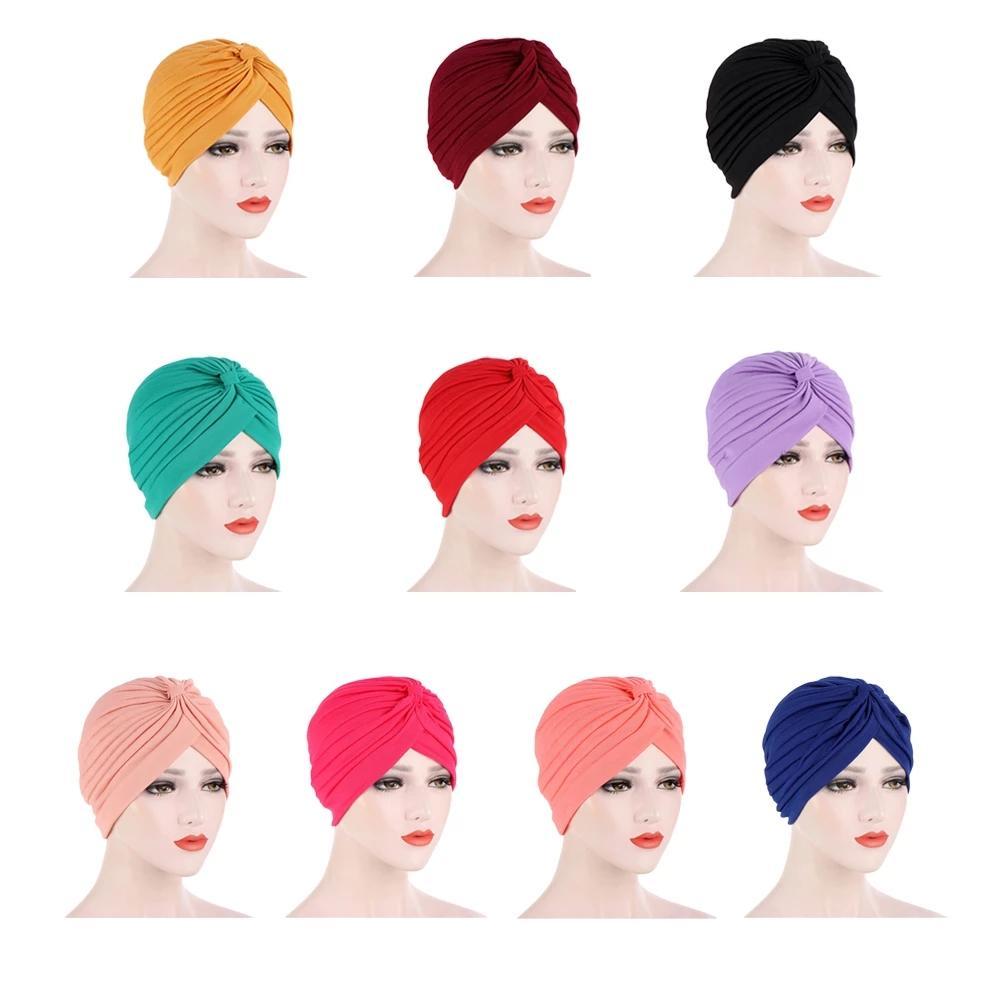 Donne musulmane Cappello indiano del cappello del turbante di Hijabs Chemo CANCRO GAP Berretto Berretto Berretto Headwear testa Wrap Donne Sciarpa musulmana Cappuccio Accessori