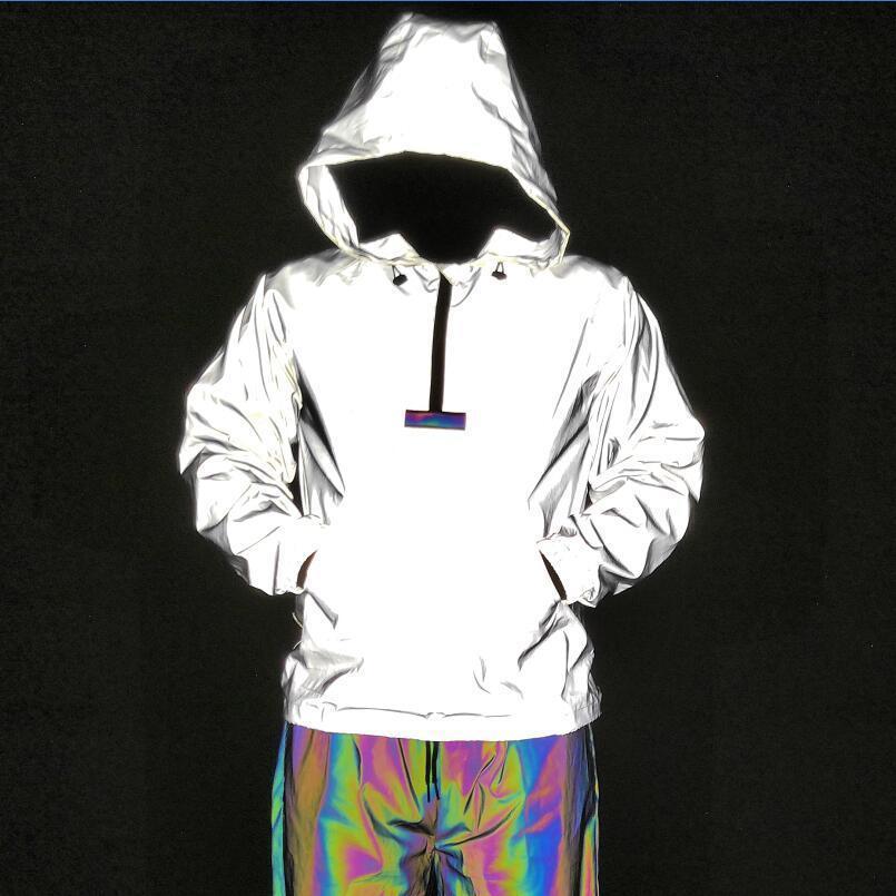 2021 Dropshipping Nacht von Männern Hip Hop Color Reflexive Ribbon Zerkleinerte Männer Pullover Plus Size Jacke J18B