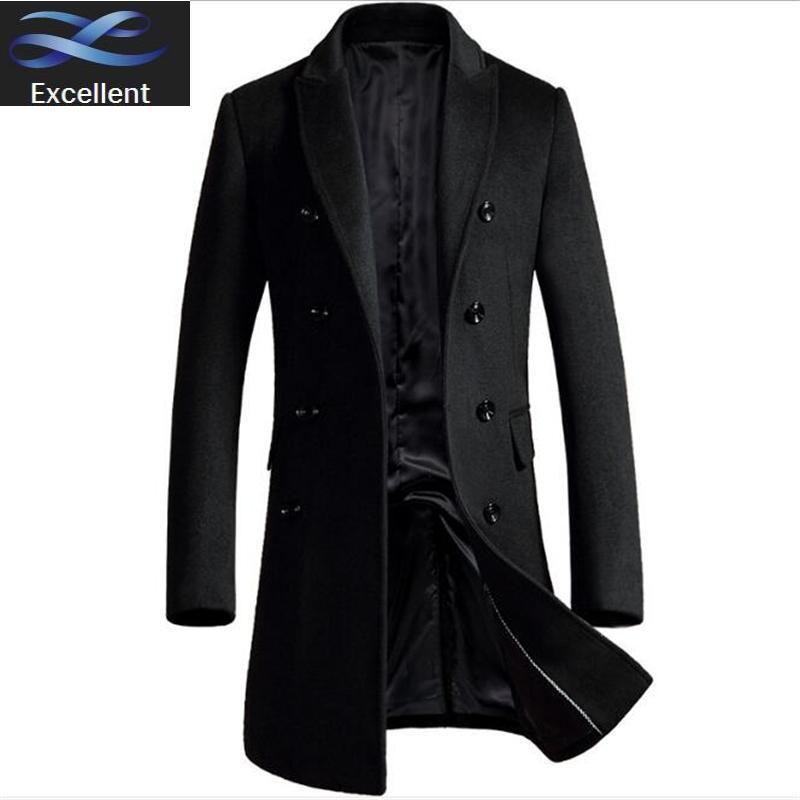 Breasted Winter-Woll Jacnke Einzel Wolle starke warme Luxury Business Casual Männer nehmen Jacken-Mantel-Schwarz Grau