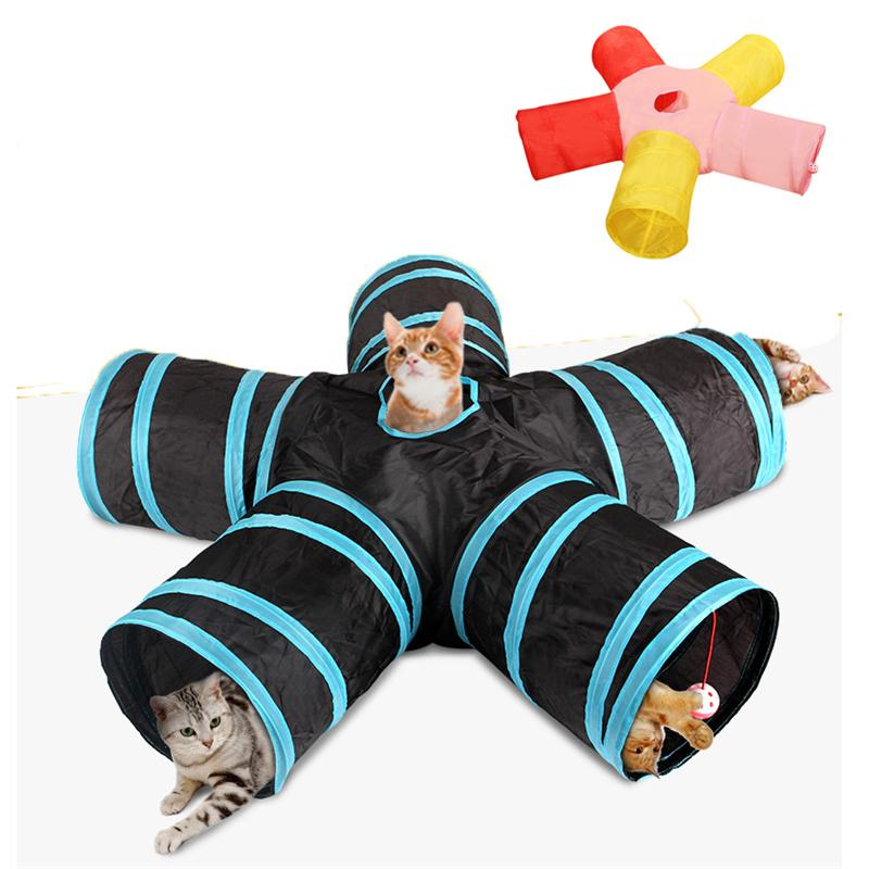 Cat Tunnel Tube 5 Way Collapsible Play Tent Interactive Toy Maze Cat House with Balls for Kitten Small Animal JK2012XB