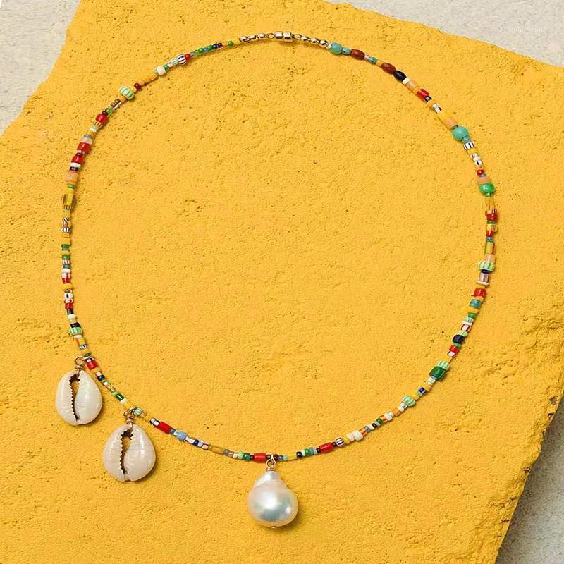 Bohemian style fashion Baroque pearl necklace ladies fashion jewelry colorful rice beads with shell pendant women necklace 20201
