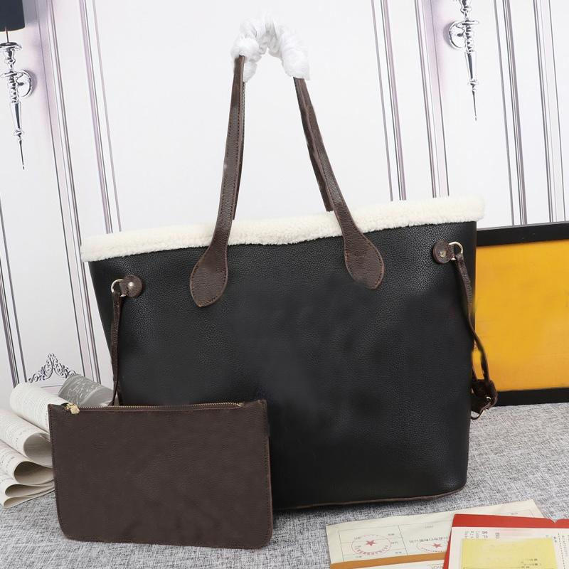 Large Women Tote Bags Grain Leather Handbag Purse Wallet Colored Wool Old Flower Shoulder Bag Teddy Hand Bag Large Capacity Shopping Bag