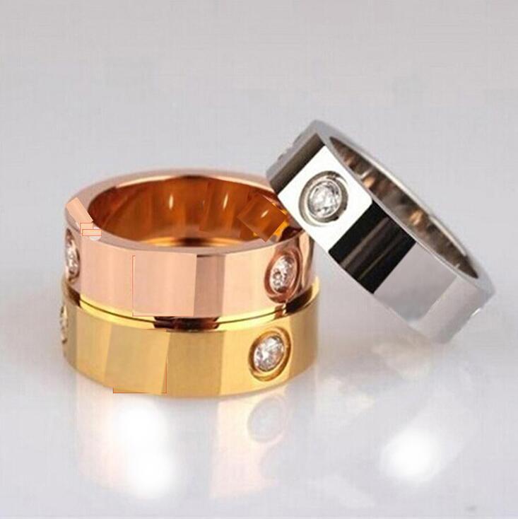 6mm 뜨거운 판매 티타늄 스테인레스 스틸 사랑 반지 여성용 남성 쥬얼리 커플 큐빅 지르코니아 결혼 반지 로고 가방 FEMME