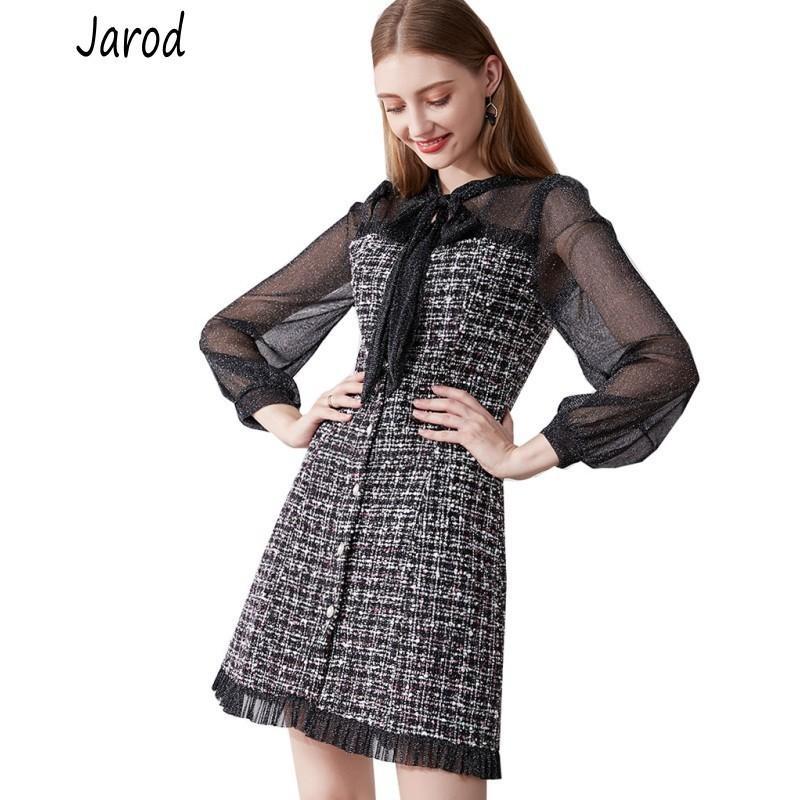 Herbst Winter Neue Vintage Kleider Koreanische Frauen Elegantes Mesh Patchwork Tweed Kleid Party Langarm Runway Vestidos LJ201202