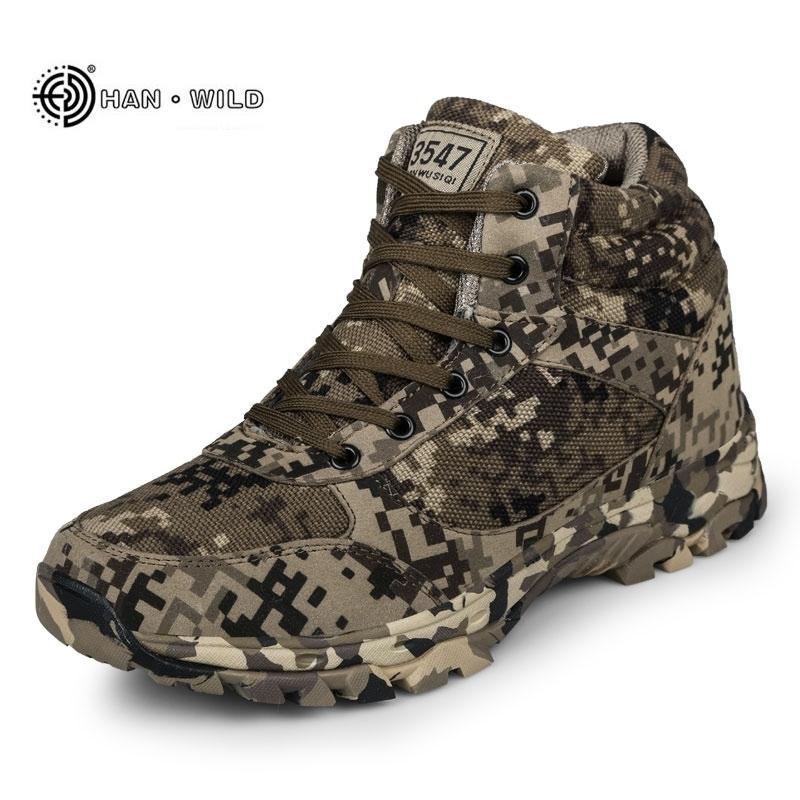 Зимние мужские ботинки камуфляж теплые шерстяные хлопчатобумажные армии боевые тактические военные туфли мужские лодыжки на открытом воздухе снега мужчина 201126