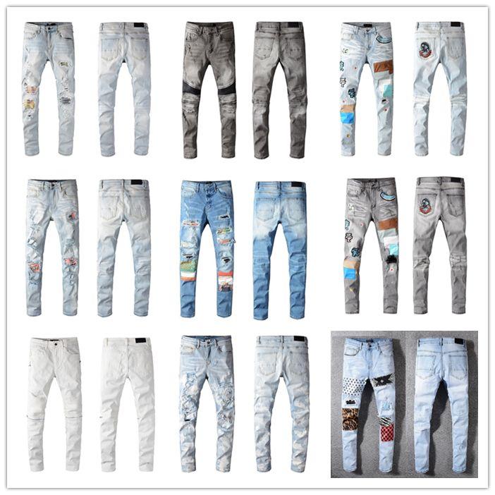 Sıcak Erkek Moda Sıska Düz İnce Yırtık Kot Erkekler Moda Erkek Sokak Giyim Motosiklet Biker Jean Adam Kot Pantolon Boyutu 28-40