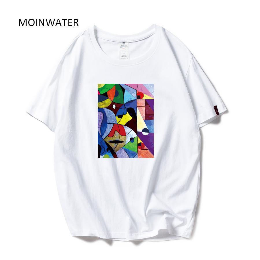 Tees Moinwater Marca New Mulheres de algodão colorido de impressão t-shirts Branco Preto Lady High Street Casual Confortável Tops Mt1978