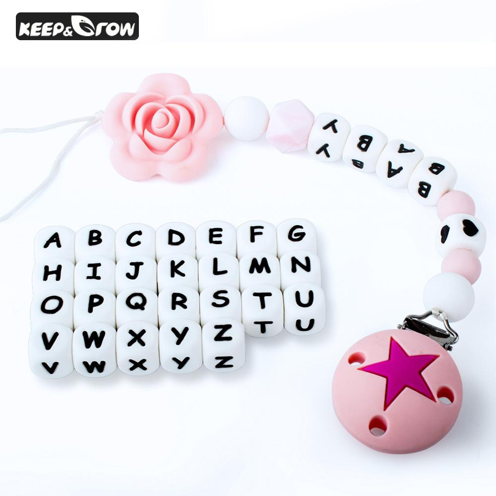 KEEP&GROW 100Pcs 12mm Silicone Letter Beads BPA Free English Alphabet Beads Baby Teether DIY Teething Necklace Baby Products 201123