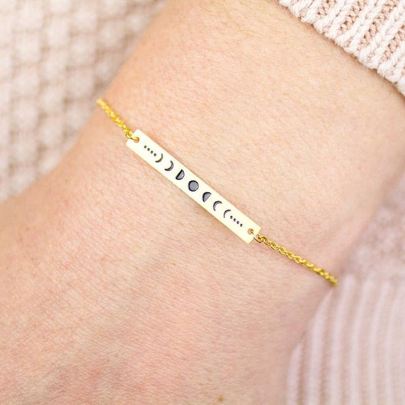 Wicca ювелирные изделия розовое золото избранные луны браслет из нержавеющей стали цепь из нержавеющей стали длинные бар браслеты дружба подарок 2020