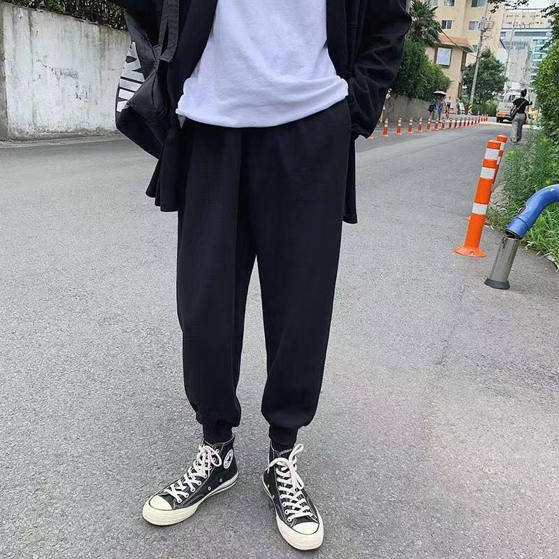 Trend Bahar INS Pantolon Erkek Öğrenciler Kore Versiyonu Gevşek Düz Tüp Korse Capris Erkek Spor Pantolon