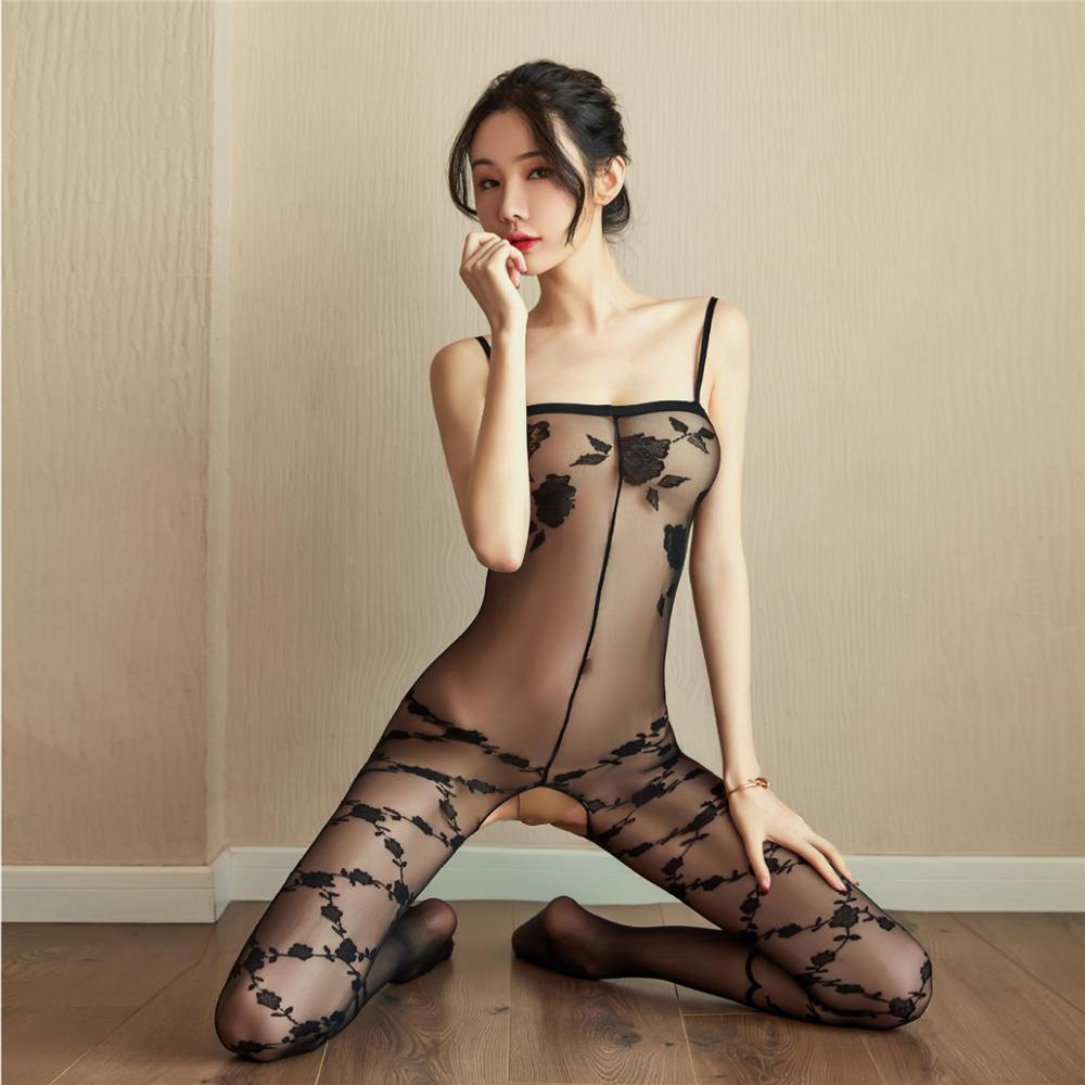 Erotische Dessous Sexy Frauen Babydoll Costumestransparent Drucken Tight Teddies Jumpsuit Siamesische Strümpfe Sex Intime Q1127