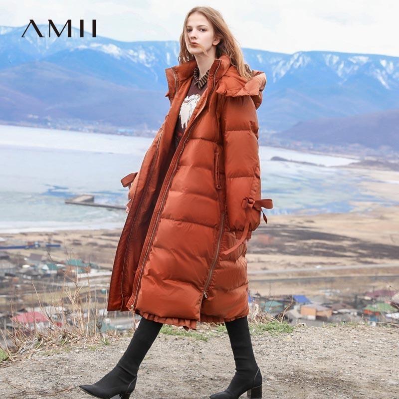 Minimaliste à capuche à capuche veste femme AMII hiver causal causal solide patchwork blanc canard baisser la lumière lumière paillas manteau 11840223