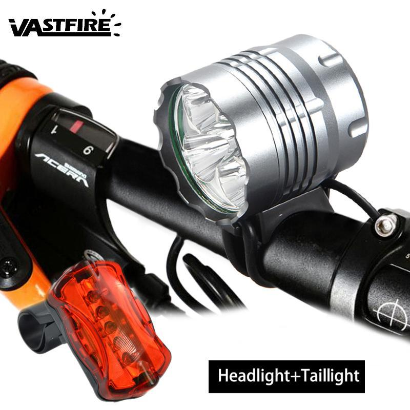 أضواء الدراجات 10000LM 5x XM-L T6 LED الدراجات مصباح 3 طرق كشافات MTB الطريق العلوي دراجة الملحقات + البطارية + الخلفية الخلفية