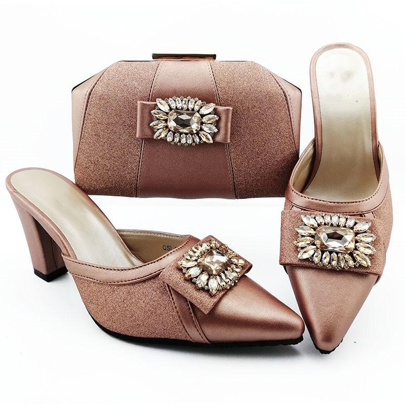 Güzel Şeftali Kadın Elbise Ayakkabı Maç El Çantası ile Rhinestone Stil Ile Afrika Pompaları Ve Çanta Set Parti QSL012, Topuk 9cm