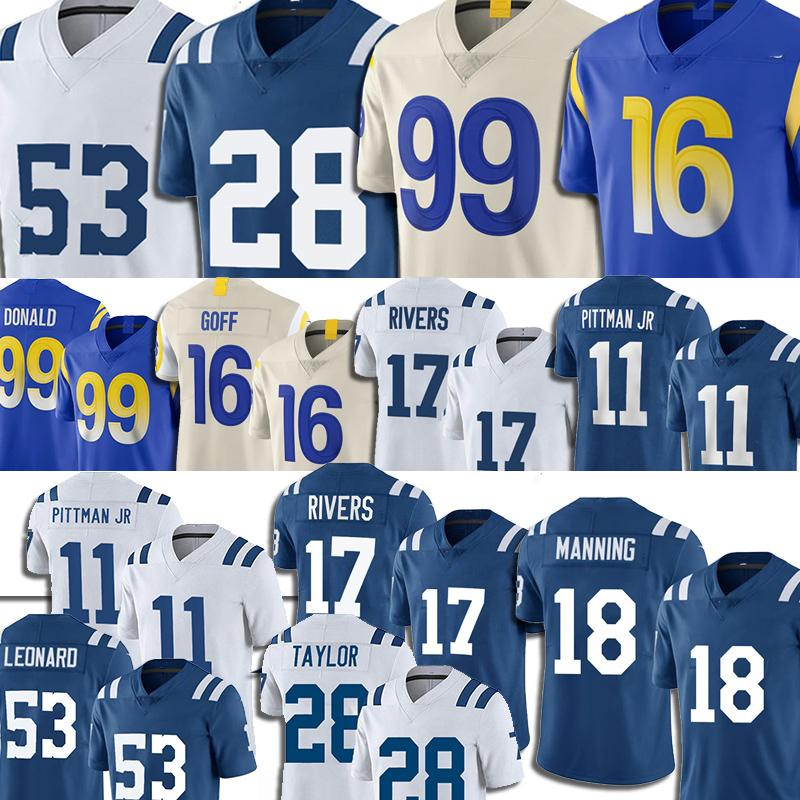 99 Aaron Donald Jersey Los 16 Jared Goff 17 Philip Rivers Jerseys Fußball 18 Peyton Manning Angeles Michael Pittman Jr Jonathan Taylor Männer