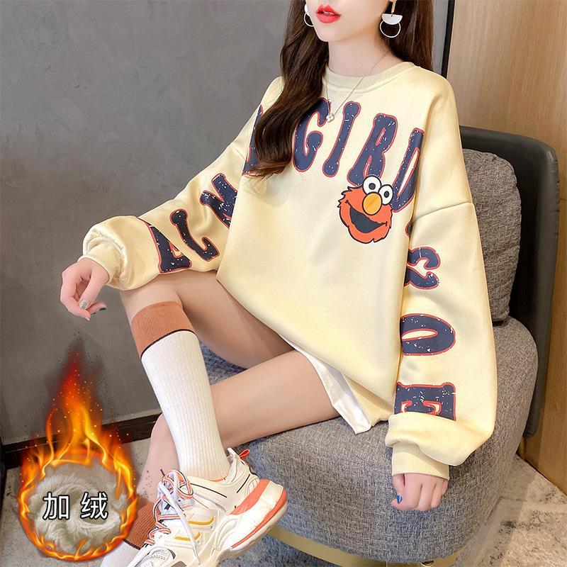 Otoño / invierno 2020 Nuevas letras de estudiante impresas coreanas de longitud media longitud suelta suéter engrosada para mujeres