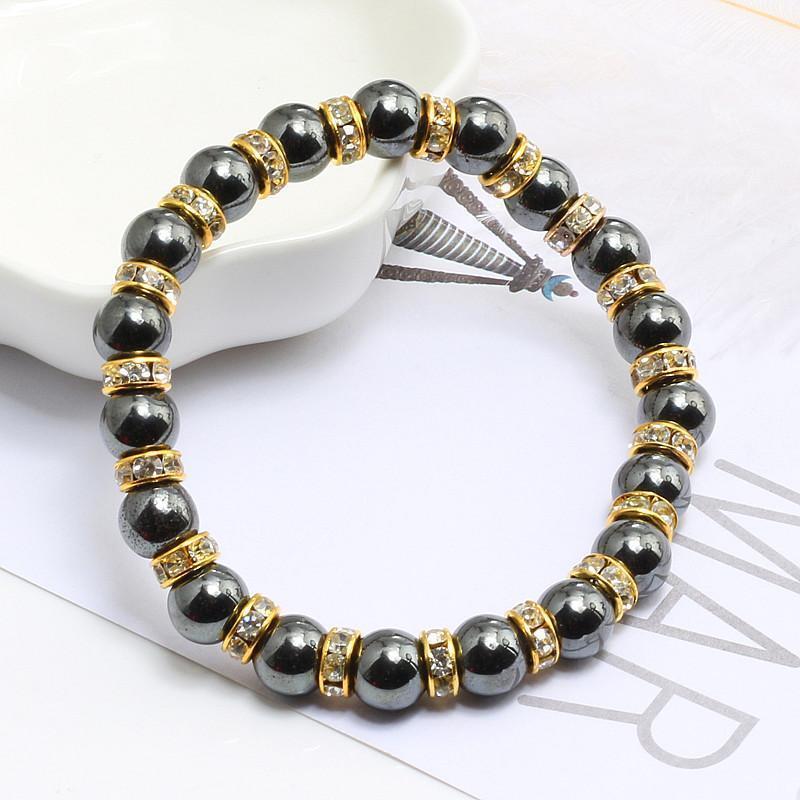 Perlé, brins de haute qualité pierre naturelle perles d'hématite bracelets bracelets strass corde pour hommes femmes femme santé bracelet bijoux gi