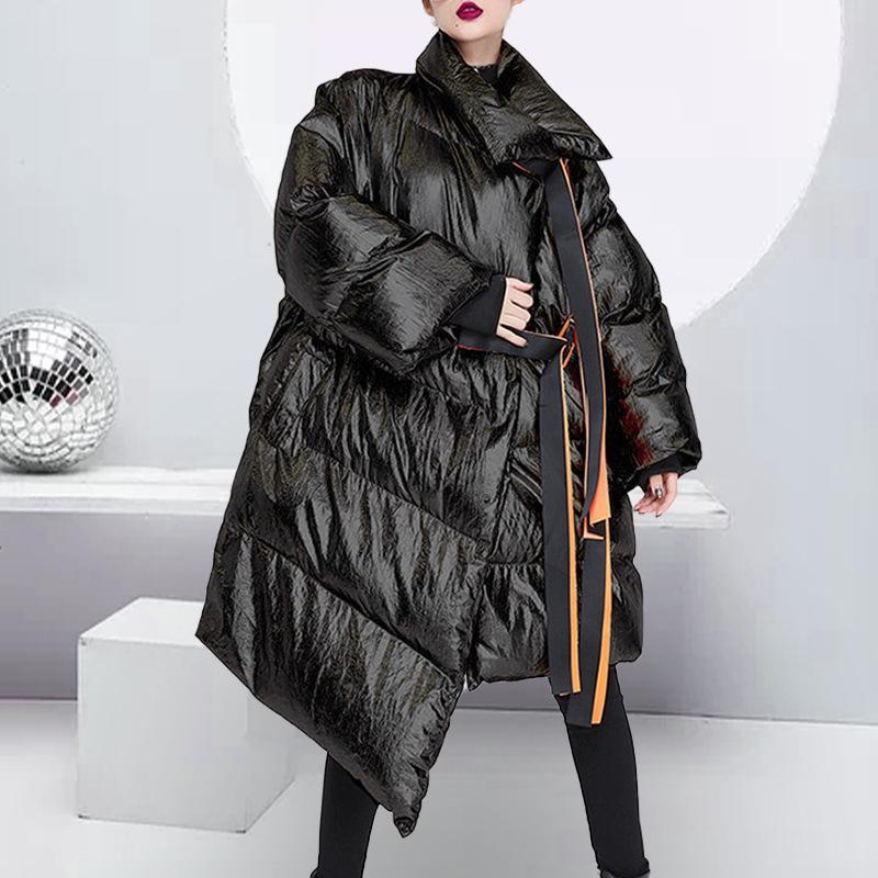 Kış 2020 Yeni Giyim Düzensiz Sıcak Uzun kadın Pamuk Ceket Moda Hiphop Gevşek Kalın Kadın Parkas Açık Giysiler