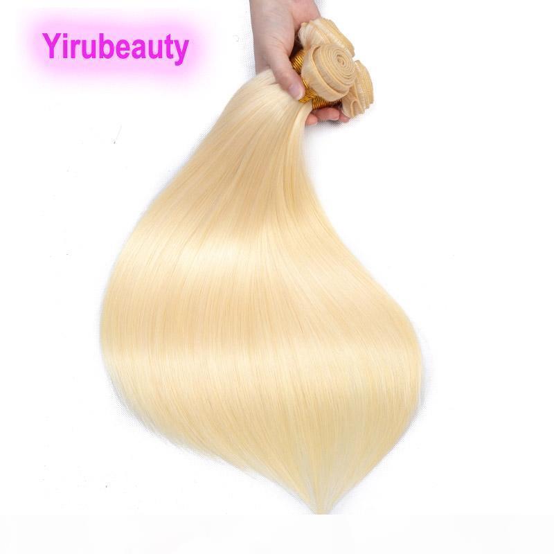 10 Adet Lot Sarışın Renk Hint Ham Bakire İnsan Saç Uzantıları 10 Paketler 613 Renk Remy Saç Atkılar 10-32 inç