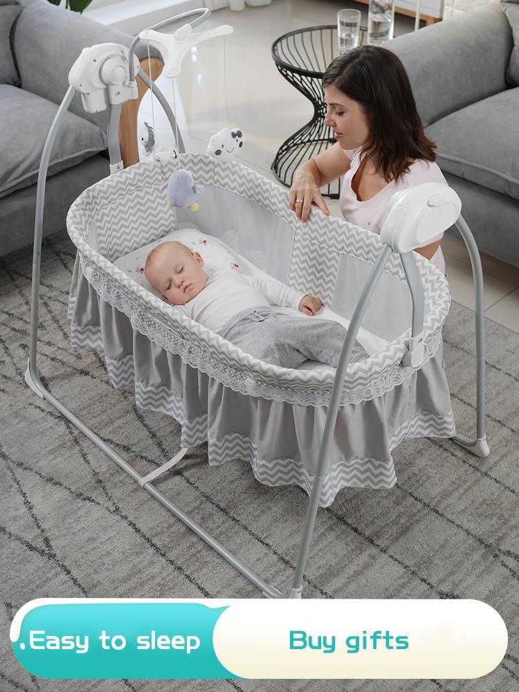 Baby Rocking Cama con musica Bebe Cuna eléctrica Cesta de sueño Shake 0-36 MesualBaby Swing Intelligent Swing Newborn Cesta de la UE Ningún impuesto J1203
