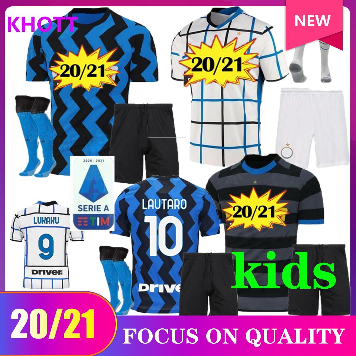 20 21 Lukaku Eriksen Lautaro Home Home Jersey Kit Kit 2020 2021 Kid Kit Alexis Sensi Skriniar Brozovic Milano Camicia da calcio Set uniformi