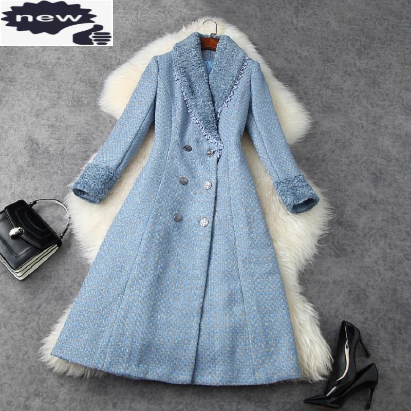 Manteaux Mélanges de laine 2021 Hiver HIVER HAUTE QUALITÉ Vêtements d'extérieur Manteau Femmes Collier De Double Collier Double boutonnage Décontracté Vintage Oversat de laine Vintage