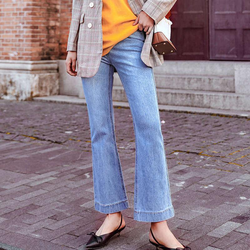 L8808 street fashion versatile micro La Four Seasons style jeans show thin washed trendy women's pants
