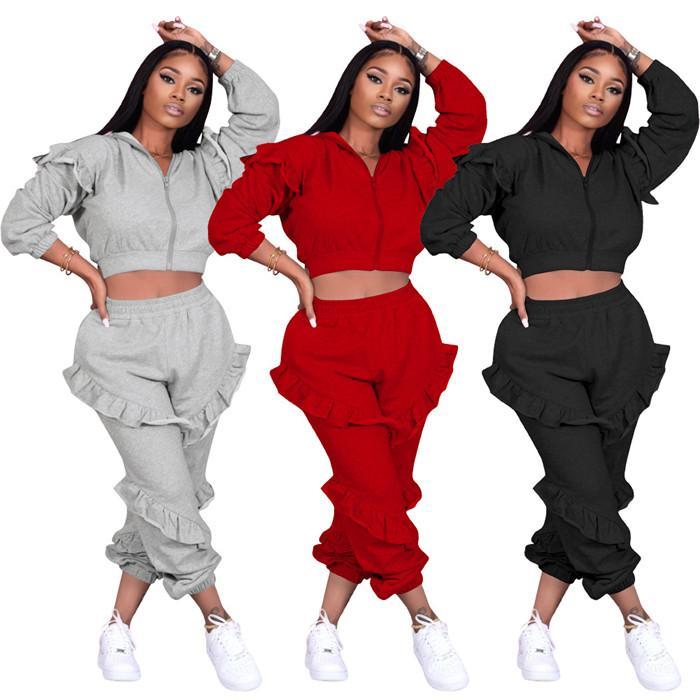 Fırfır Bayan Giyim 2 Parça Set Seksi Kapşonlu Fermuar Mont Rahat Bayanlar Pantolon Katı Renk Moda Kadınlar Iki Parçalı Kıyafet
