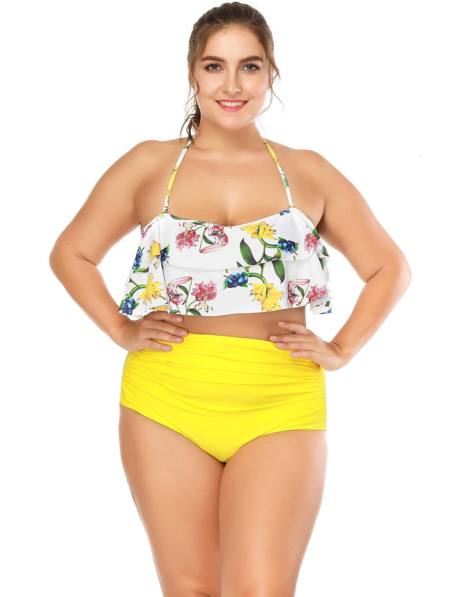 Nuovo 2021 Ruffled Split Split-Neck Straw Strap Tube Top Plus Size Hot Spring Swimwear Bandeau Costume da bagno Donne M27J