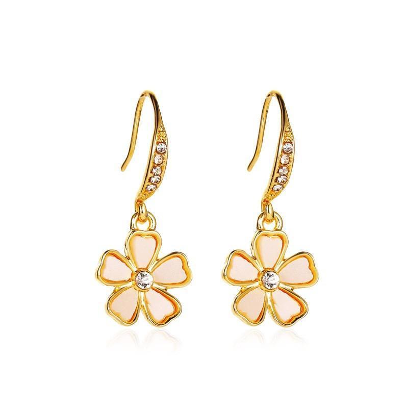 Корейские свежие флористические серьги крючок пять цветок циркона ушная капля для подарка женщин сплав белый мода болтаться серьгами ювелирные изделия