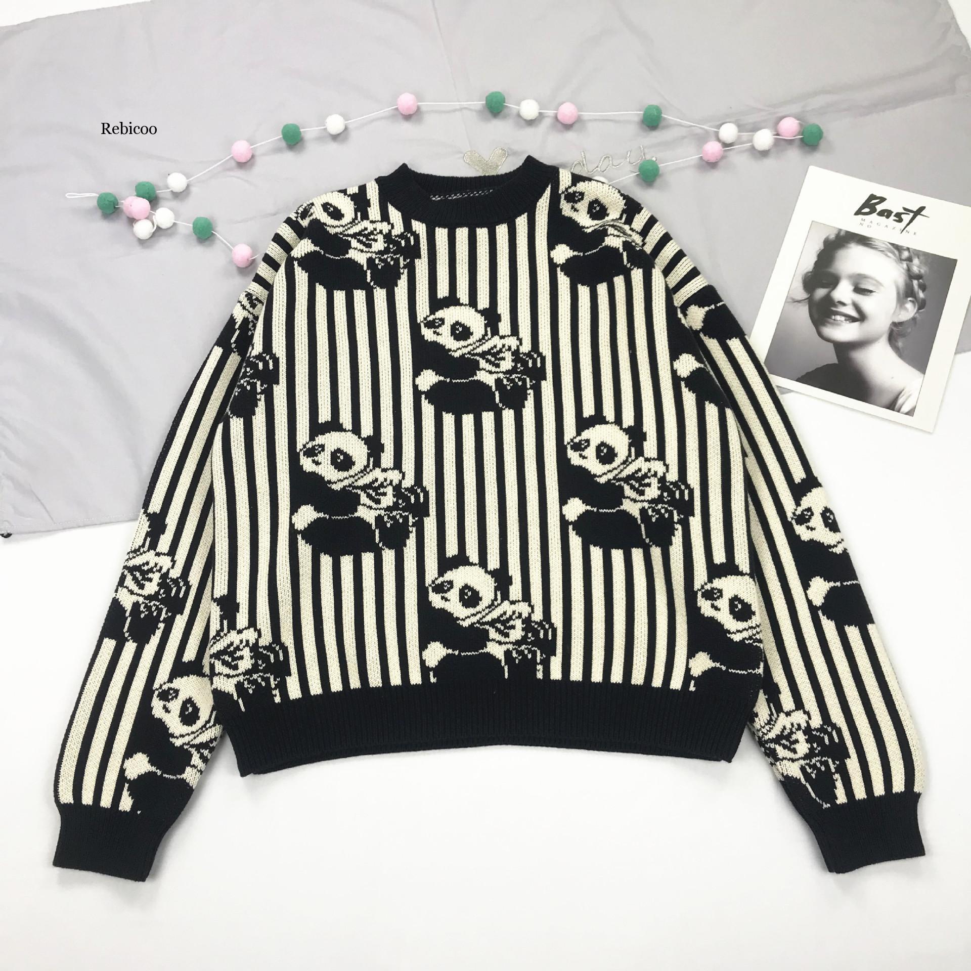 Camisola de malha de panda feminina preto branco despojado pulôvers de manga longa cair, suéteres de inverno meninas bonitos