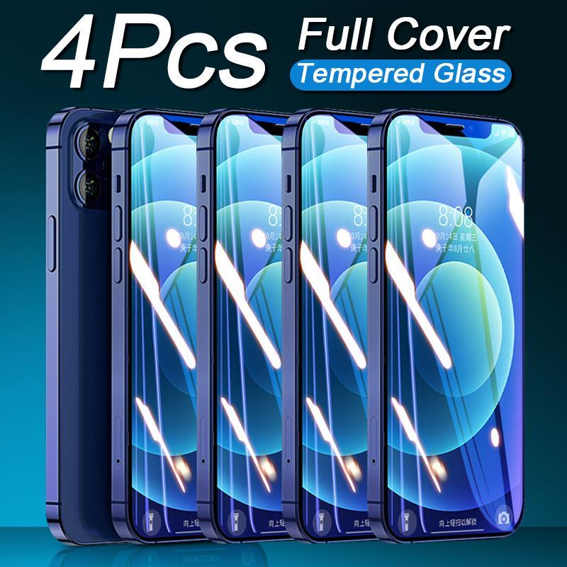 4шт Полное покрытие Стекло на iPhone 12 Mini 11 Pro Закаленное стекло для iPhone 7 8 6 6S PLUS X XS MAX XR 11 Защитный экран