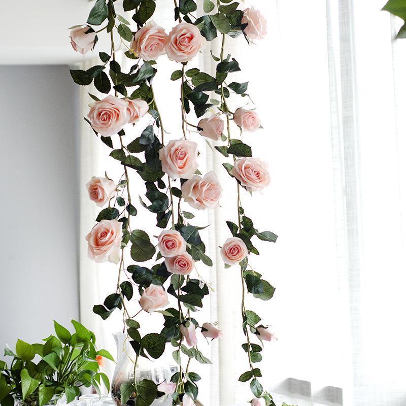 180cm artificielle rose fleur de fleur de vigne décoratif décoratif vrais tactiles de soie de soie avec des feuilles vertes pour la maison suspendue guirlande décor