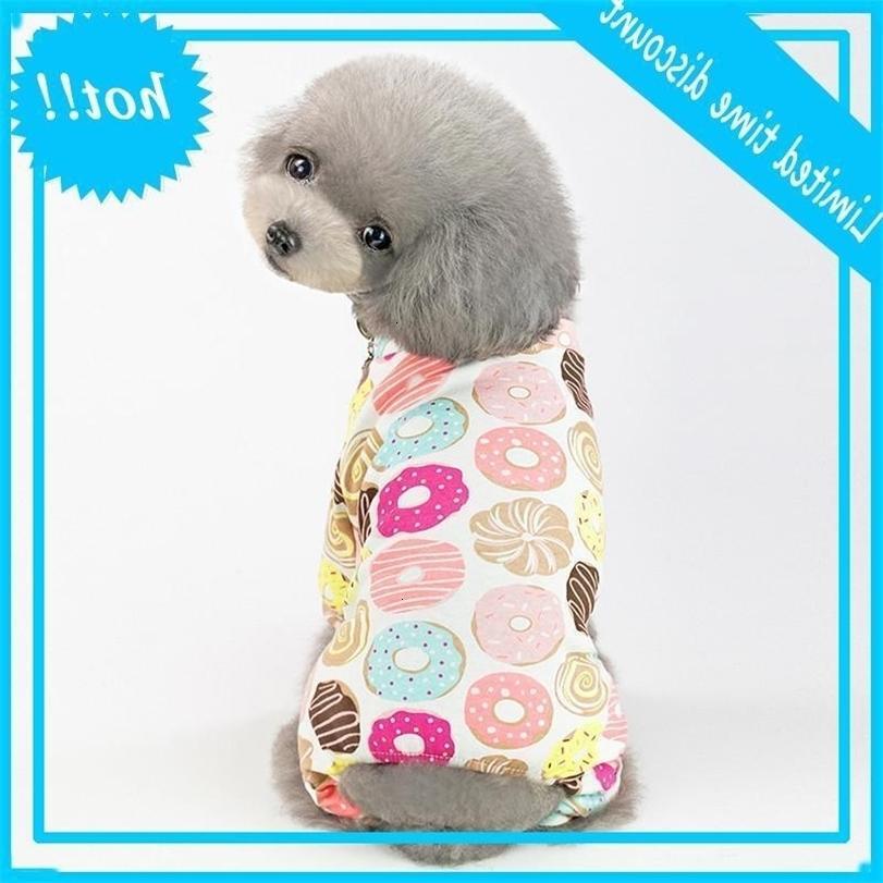 F137 Pet Cotton Cotton Coverall Dog Summer Tangsuit Pagliaccetti Primavera Vestiti 5 Colori 2019 Nuovo stile