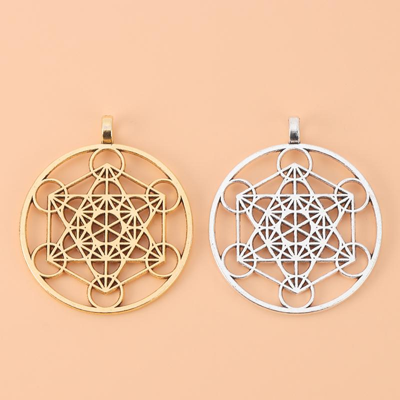 20pcs Antique Gold/Silver Color Archangel Metatron Cubes Round Charms Pendants for Necklace Jewelry Making Accessories Q1209