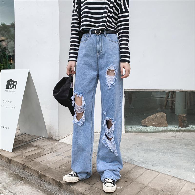 Primavera Autunno 2020 hip hop in vita alta jeans strappato femminile estate allentata grande taglia grassa 5x larga gamba gamba dritta mopping jeans jeans w0104