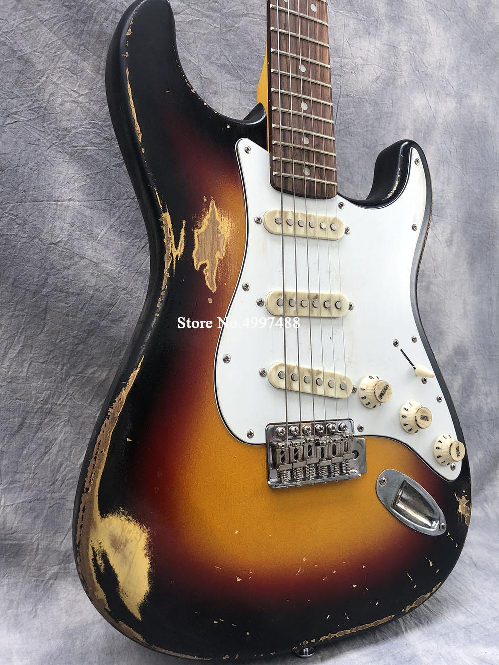 البترول! Masterbuilt الفلفل الحار الفلفل John Fruscante 1962 3 Tone Sunburst Heavy Relic ST الغيتار الكهربائي، خمر الأخضر Konb SSS التقاطات