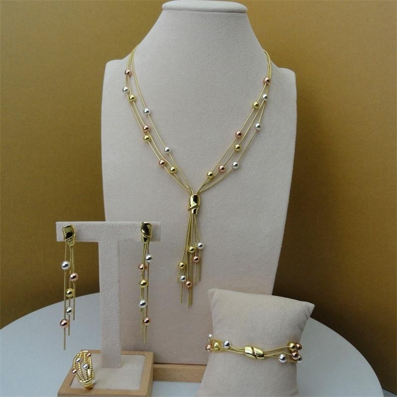 YUMINGLAI DUBAI Jewlery Fine exquisito Joyería Conjuntos Collar para Mujeres FHK5804 201218