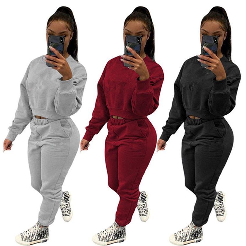 Abbigliamento donna Sweatsuits Hoodieleggings Lettera Tracksuits Abiti a maniche lunghe Abiti da due pezzi Sportswear S-3XL Vestito da jogging 4218
