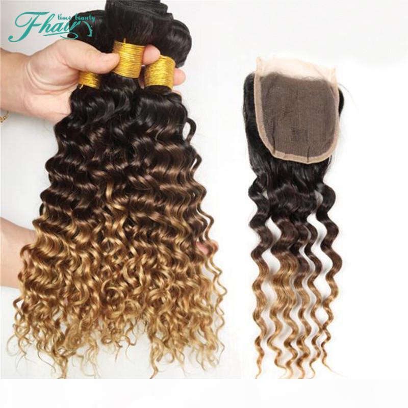 7A Brezilyalı Derin Dalga Ombre İnsan Saç Uzantıları # 1B 4 27 Ombre Saç Örgü Demetleri ile Üç Ton Ombre Dantel Kapatma 4 adetgrup