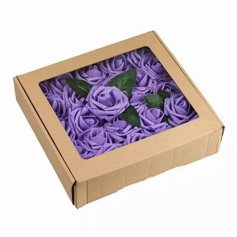 50 pcs rosas artificiais falsas flores com hastes parecem real espuma rosas a granel para diy casamento buquês de buquês de festa de chá de bebê decorações