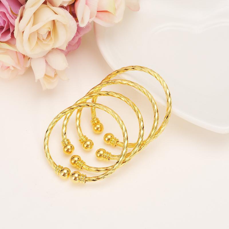 Bangle 4 stücke Dubai Gold Stempel Baby Klein Kind Armband Für Kinder Afrikanische Kinder Bairn Schmuck Midost Arabisch Nettes Geschenk1