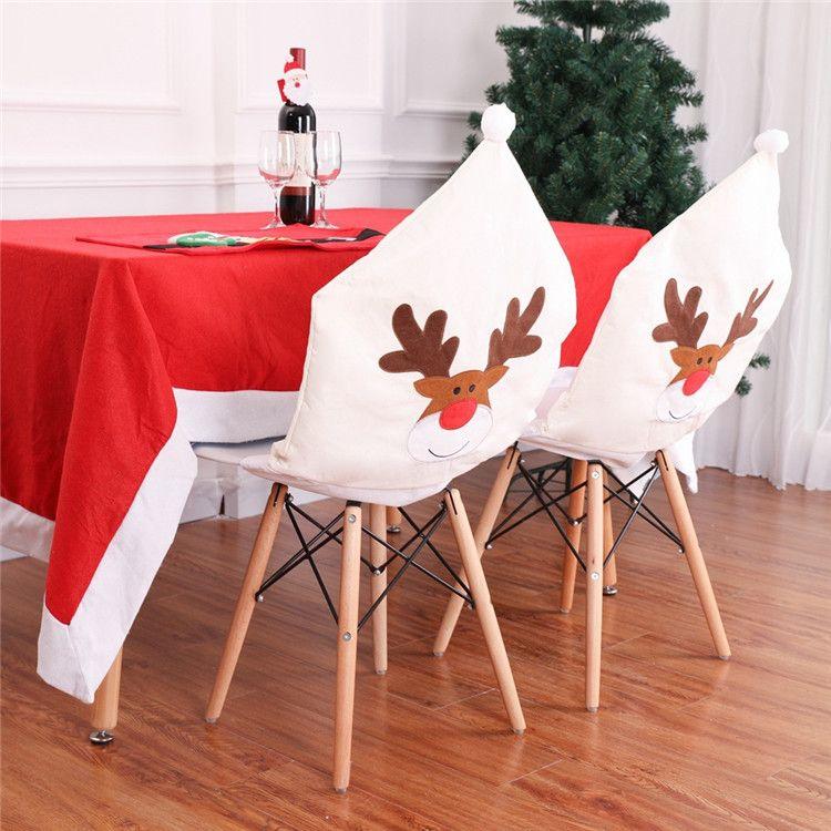 Nouveaux décorations de Noël d'intérieur de Navidad Chaise Couverture Santa Blanc Couleur Xmas Ornements Décorations Ow2657