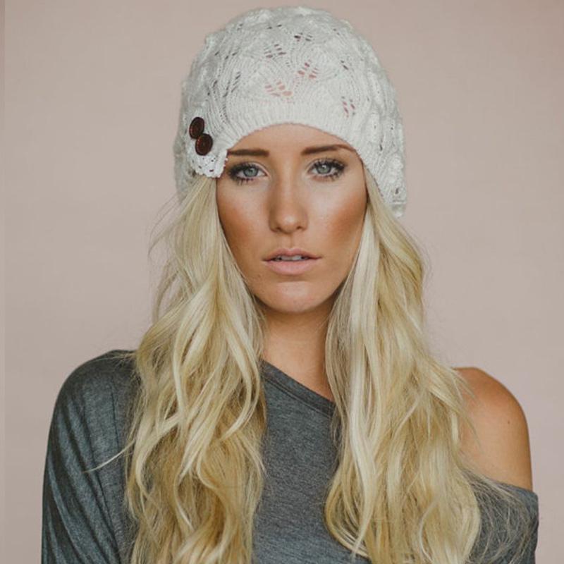Новые женщины Новые вязаные шапки зима теплая больная шляпа вязаные шансы мода с кнопками