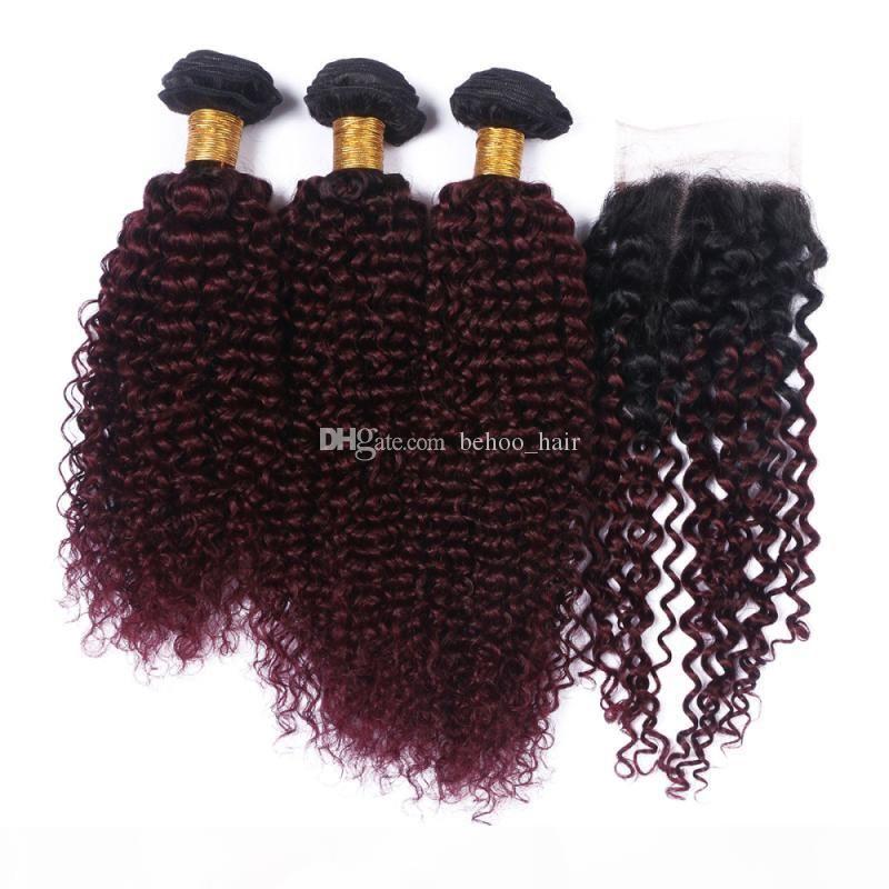 Malasia 9A OMBRE Color # 1b 99J Kinky rizado Paquete de cabello humano Paquetes de cabello con cierre de encaje Borgoña Libre de 3 piezas 4pcs Lot