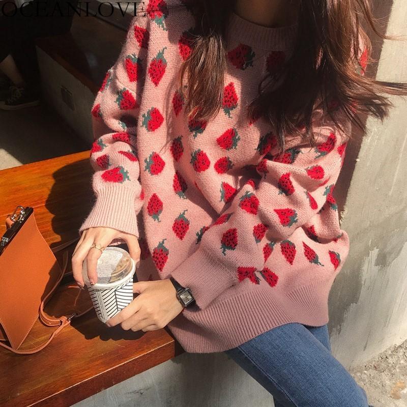 Oceanlove Sweet Femmes Sweeteurs Strawberries Imprimer Longues Pulls Tops 2020 Automne Hiver Loose Suter Mujer Filles Knitwear 12498 C1121