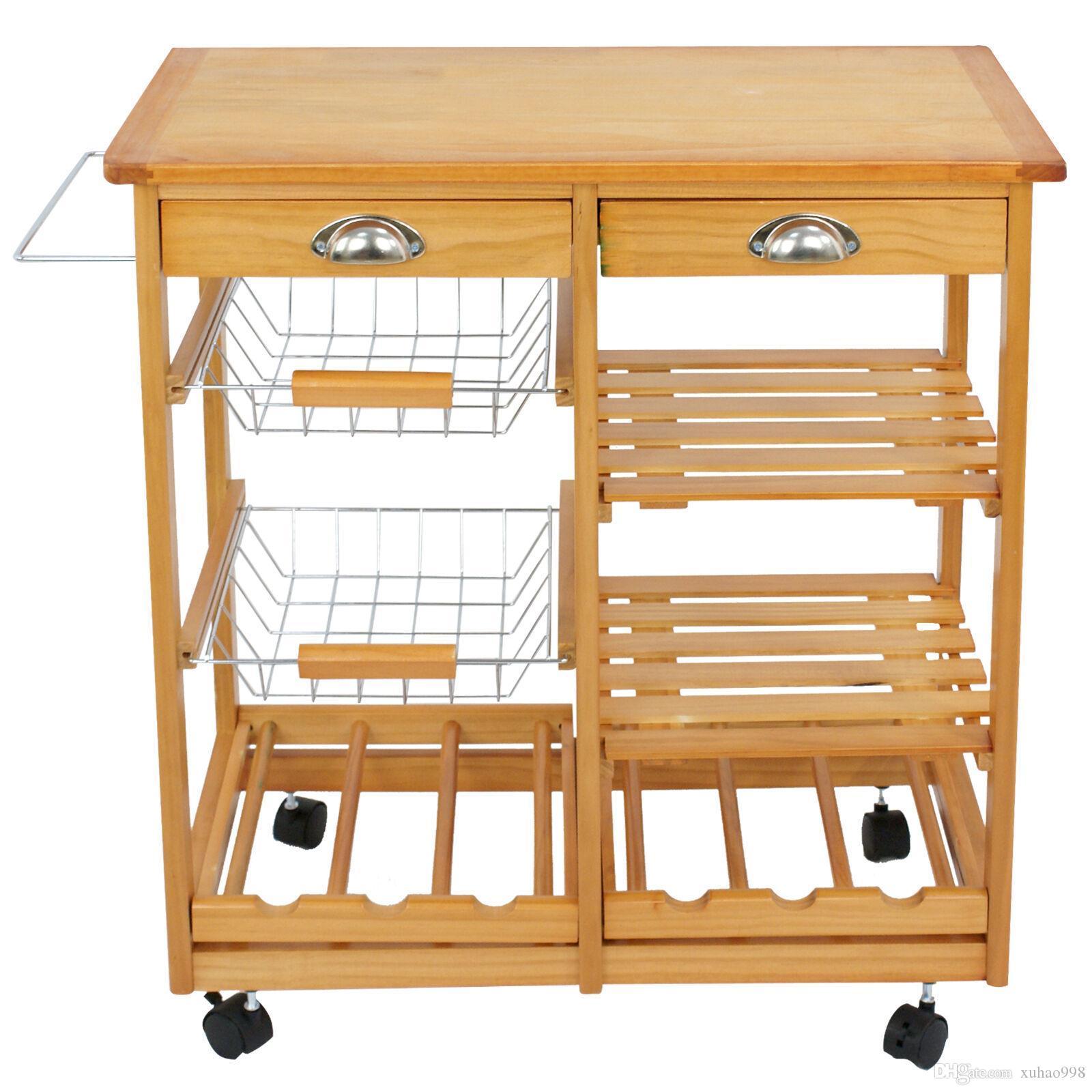 Rolling Wood Kitchen Island Carretilla Carrito Casas de almacenamiento Cajones Soporte Durable