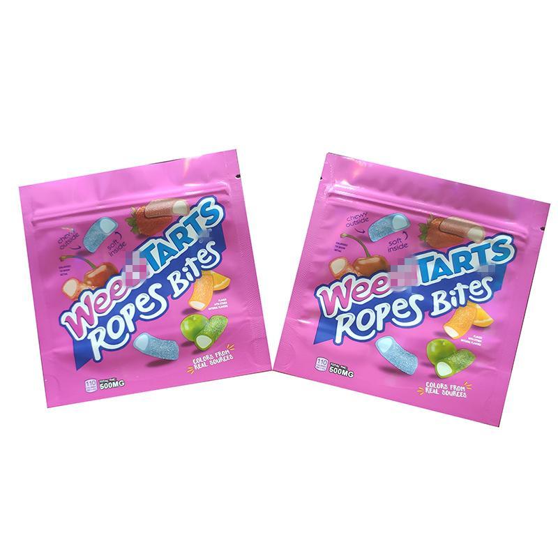 Weedtarts edibles mylar borse imballaggio vuoto 500 mg di weedtarts corde morsi 5 sapori gummies borse odore a prova di prova ricreable edibles packaging2021