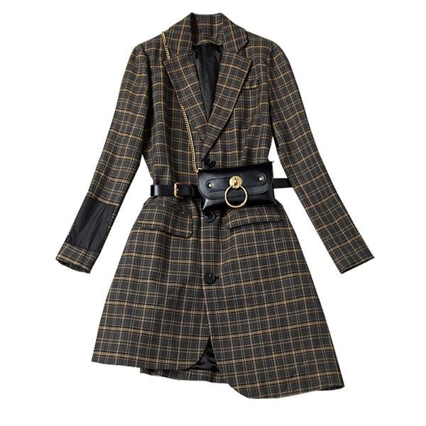Blazer à carreaux de haute qualité Manteau à manches longues à manches longues avec ceinture en cuir Bureaudy Lady Long Long Blazer Jacket Mujer X1214